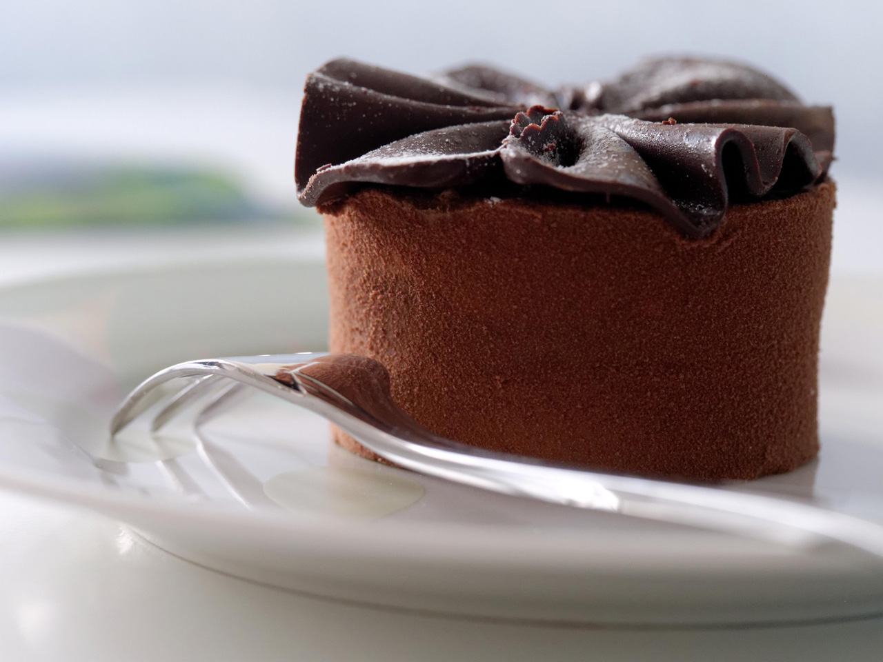 chocolate cake on white plate